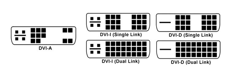 Виды DVI-разъемов для подключения дисплея к компьютеру